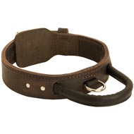 Extra Durable Leather Mastiff Collar with Handle for Attack Training