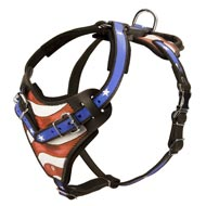 American Flag Painted Leather Mastiff Harness for Agitation Training