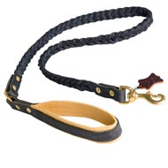 Braided Handcrafted Leather Mastiff Leash with Nappa Leather Lined Handle