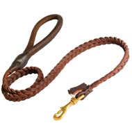 Mastiff Leather Braided Dog Leash
