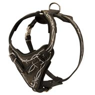 Painted Leather Mastiff Harness for Walking and Training