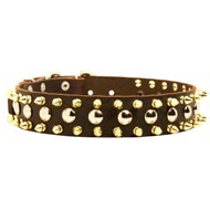 Spiked and Studded Mastiff Leather Collar