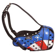American Pride Painted Leather Mastiff Muzzle for Protection Training