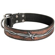 Handpainted Leather Mastiff Collar with Barbed Wire Drawing