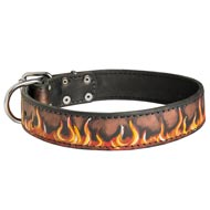 Handpainted Leather Mastiff Collar with Red Flames