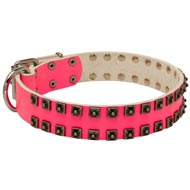 Fashionable Pink Leather Mastiff Collar with Studs for Walking She-Dogs