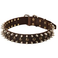 3 Rows Leather Spiked and Studded Mastiff Collar