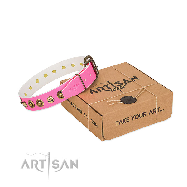 Full grain natural leather collar with trendy adornments for your doggie