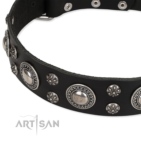 Easy wearing adorned dog collar of strong full grain genuine leather