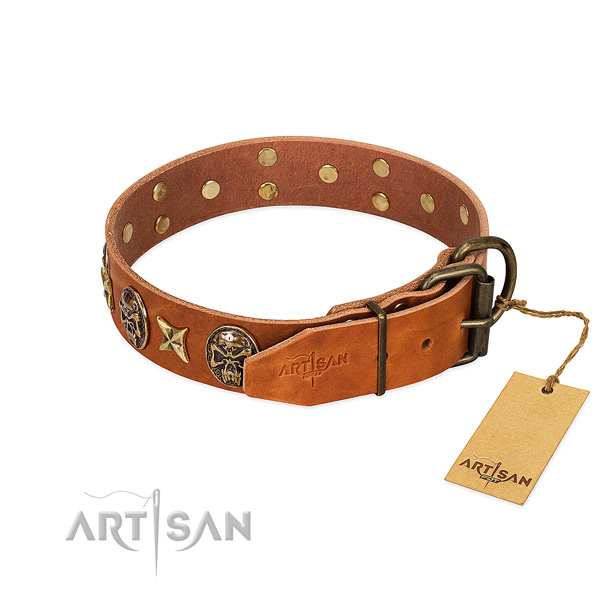 Full grain natural leather dog collar with rust-proof hardware and embellishments