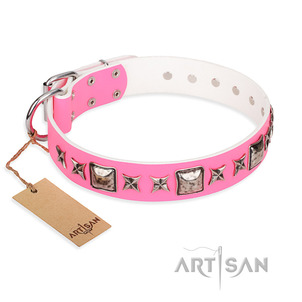 Leather dog collar made of soft to touch material with durable traditional buckle