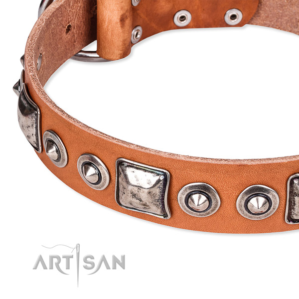 Reliable natural genuine leather dog collar handcrafted for your stylish canine