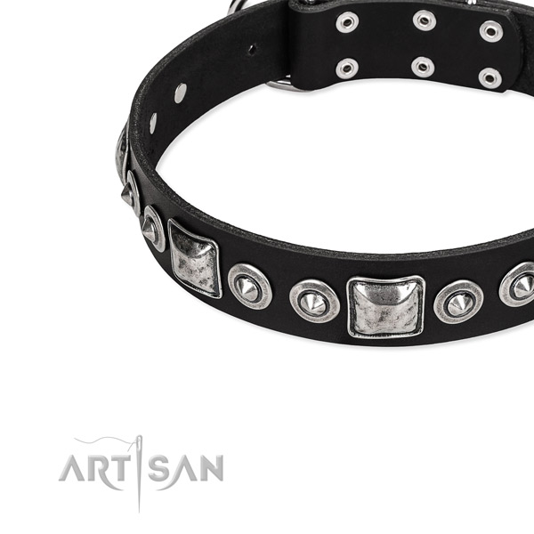 Genuine leather dog collar made of reliable material with decorations