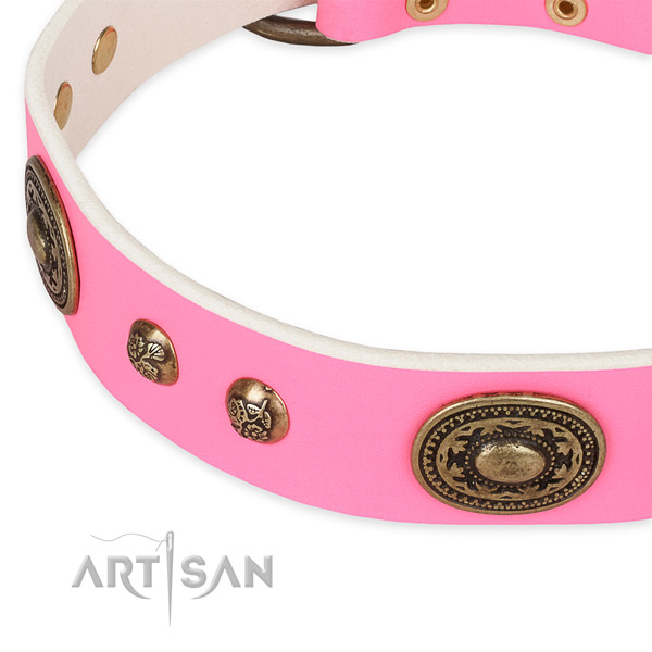 Adorned genuine leather collar for your beautiful doggie