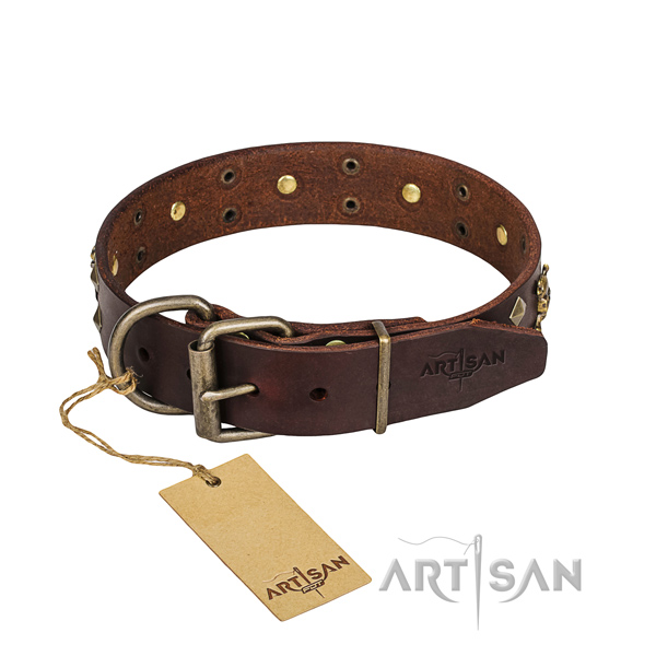 Daily use dog collar of strong natural leather with embellishments