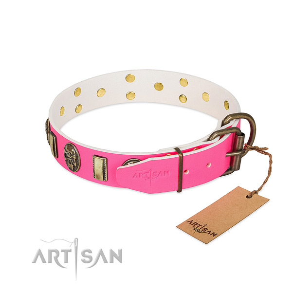 Strong buckle on full grain natural leather dog collar for your four-legged friend