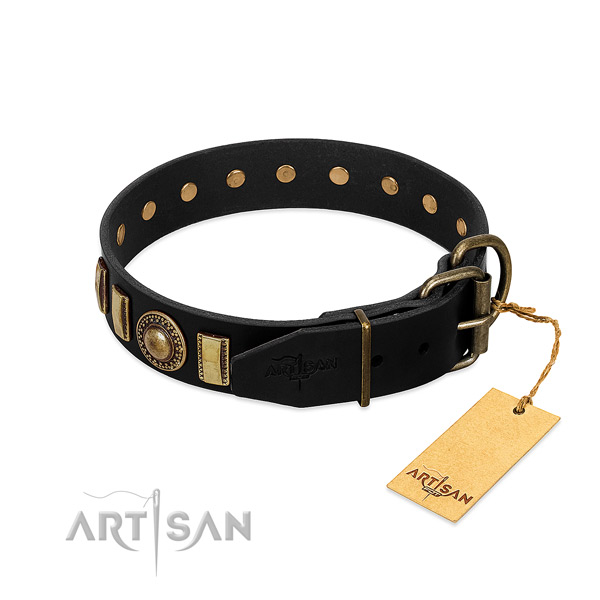 Top rate natural leather dog collar with embellishments