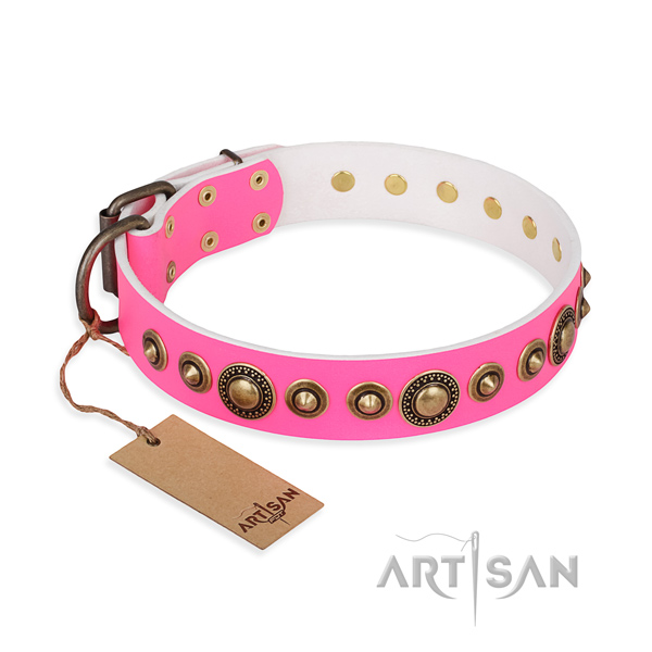 Durable genuine leather collar handmade for your dog