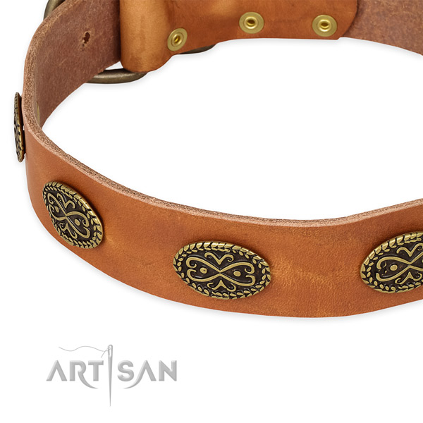 Perfect fit full grain natural leather collar for your lovely canine