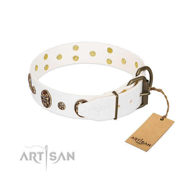 Corrosion proof fittings on full grain natural leather dog collar for your dog