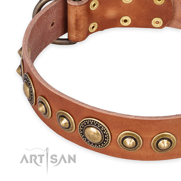 Durable genuine leather dog collar created for your stylish doggie