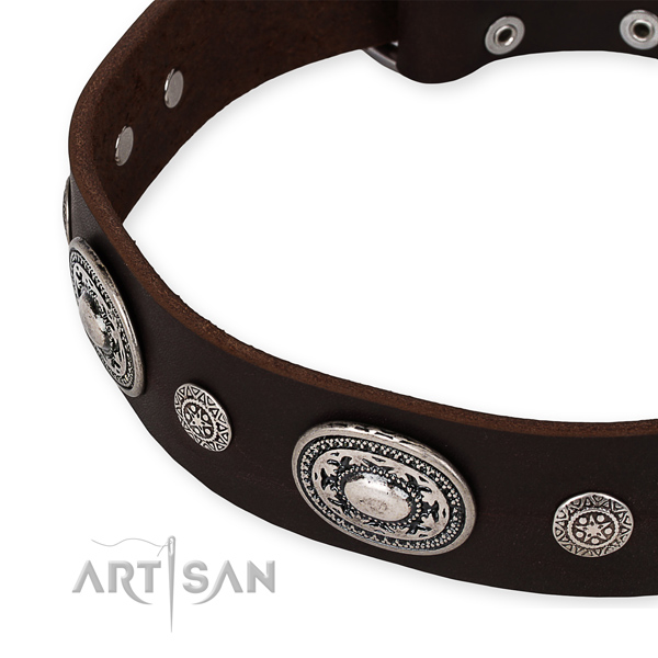 Top notch full grain genuine leather dog collar made for your lovely four-legged friend