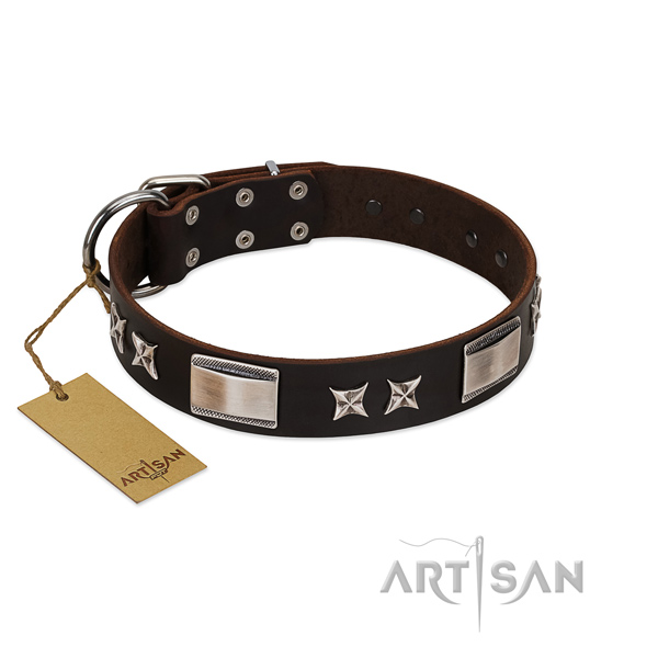 Fine quality dog collar of natural leather