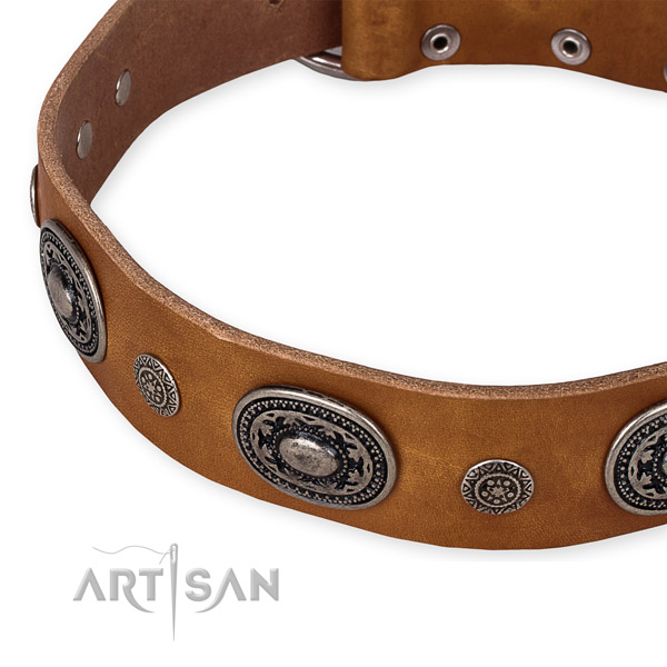 Soft natural genuine leather dog collar handmade for your lovely four-legged friend