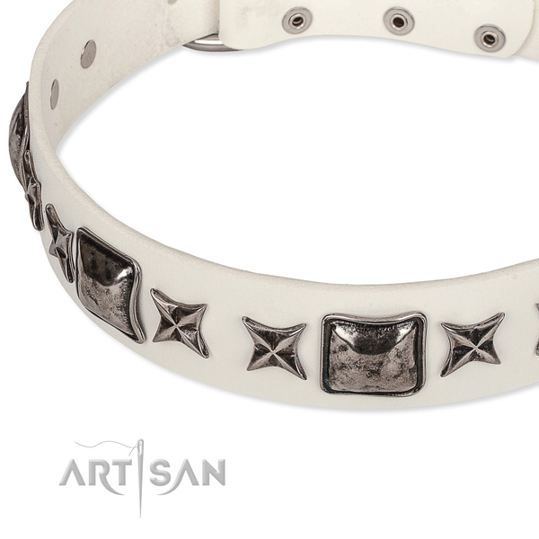 Easy wearing embellished dog collar of high quality full grain leather