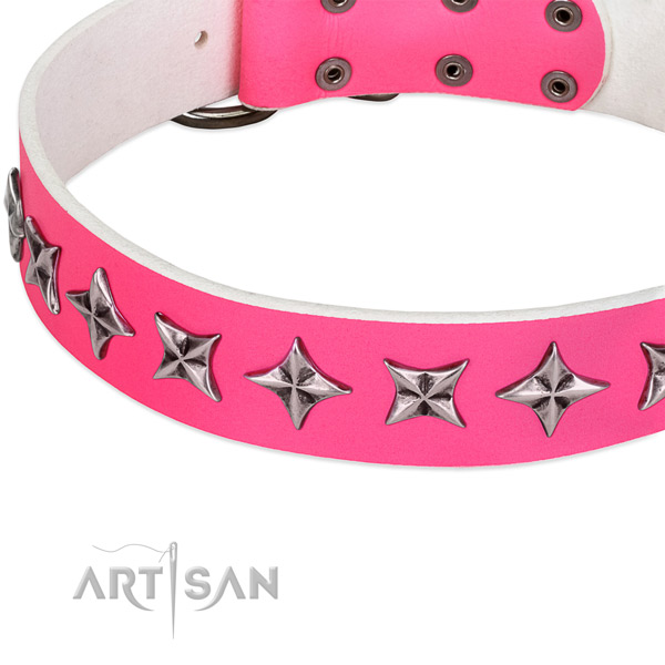 Easy wearing adorned dog collar of top quality genuine leather