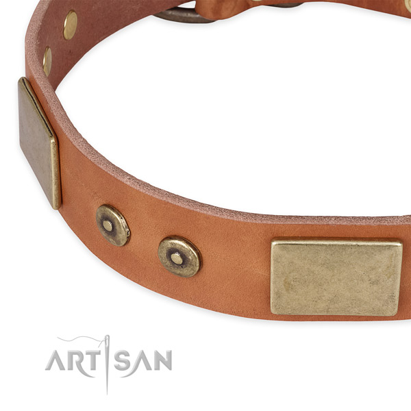 Strong hardware on full grain natural leather dog collar for your doggie
