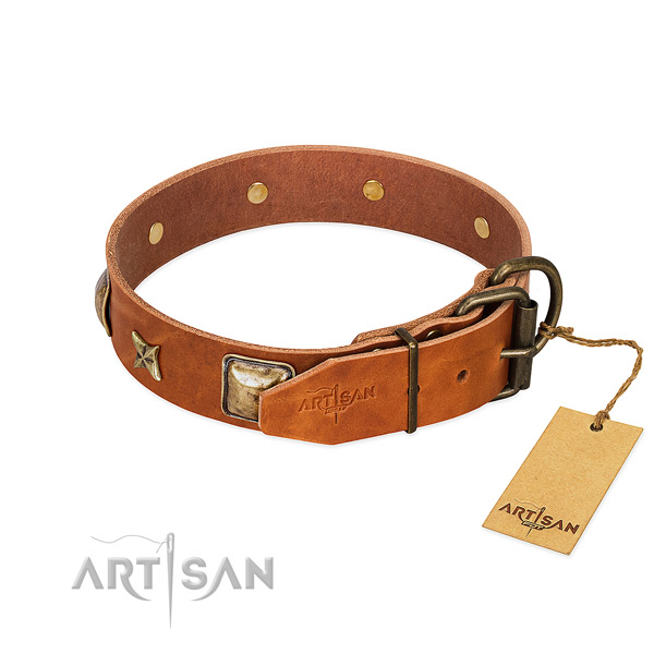 Full grain leather dog collar with rust-proof traditional buckle and decorations