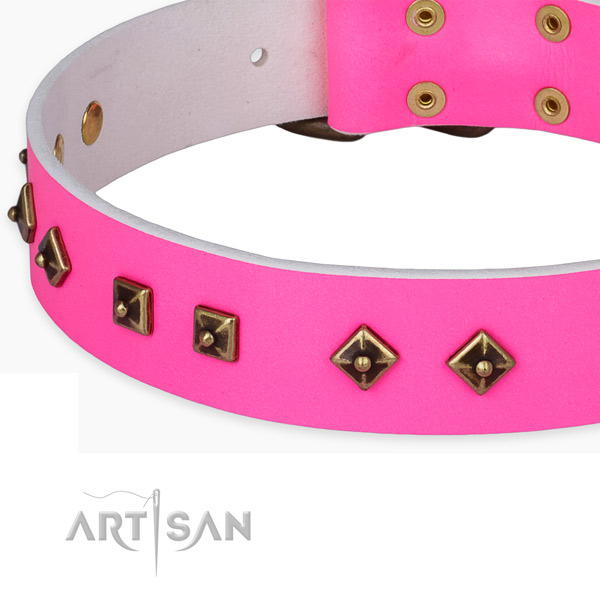 Easy wearing natural leather collar for your stylish dog