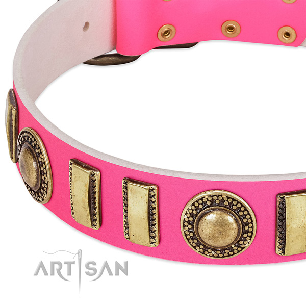 Reliable full grain genuine leather dog collar for your lovely pet
