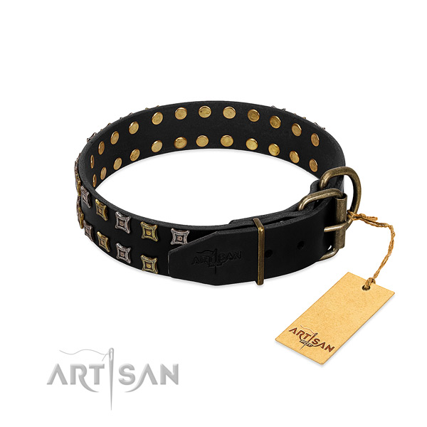 Top rate full grain genuine leather dog collar handcrafted for your four-legged friend