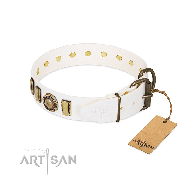 Top rate natural leather dog collar made for your four-legged friend