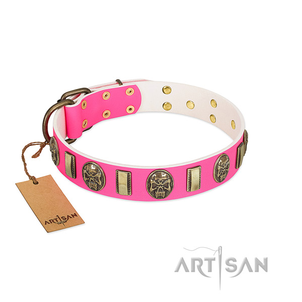 Strong fittings on full grain genuine leather dog collar for your four-legged friend