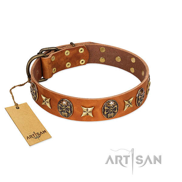 Unique natural genuine leather collar for your pet