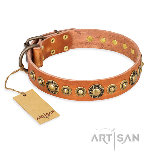 Durable leather collar handcrafted for your doggie