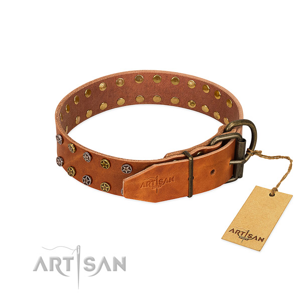 Comfortable wearing natural leather dog collar with stunning embellishments
