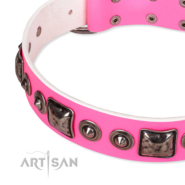 Top notch natural genuine leather dog collar handcrafted for your attractive dog