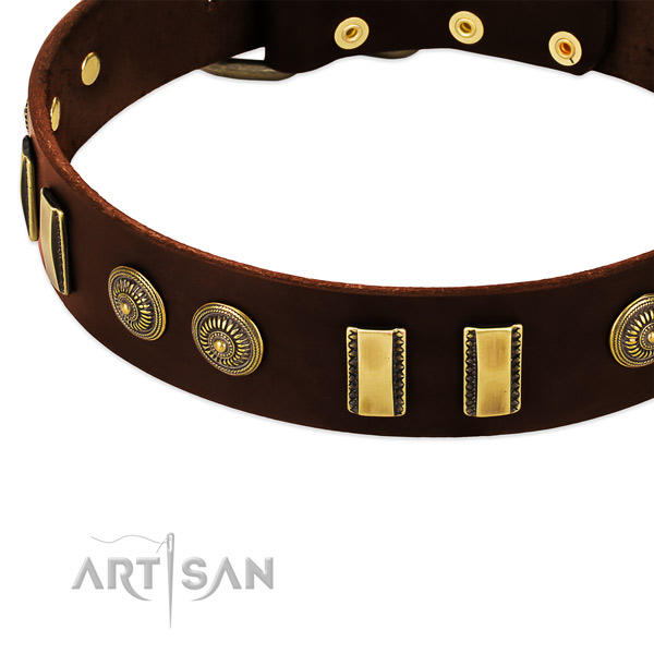 Reliable buckle on full grain genuine leather dog collar for your canine