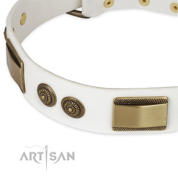 Durable embellishments on full grain leather dog collar for your doggie