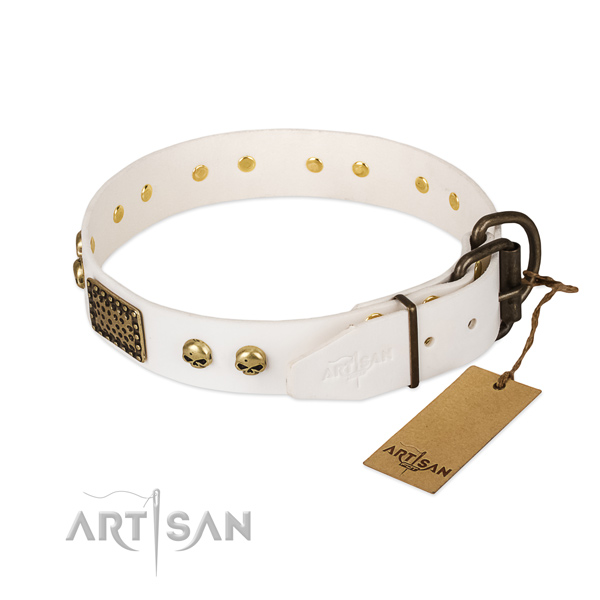 Easy adjustable full grain leather dog collar for daily walking your canine