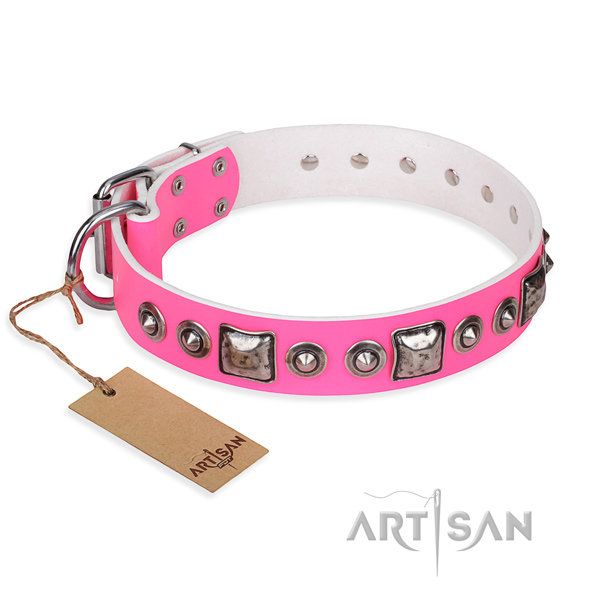 Leather dog collar made of gentle to touch material with durable fittings