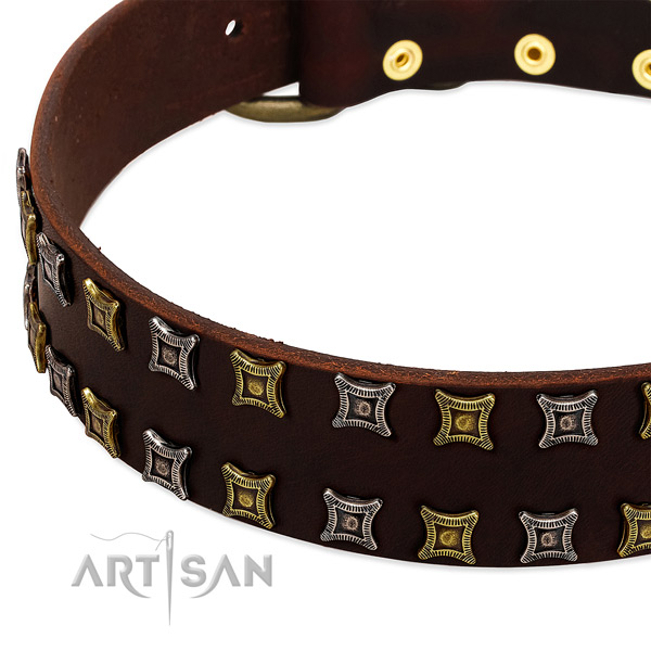 Soft to touch leather dog collar for your impressive four-legged friend