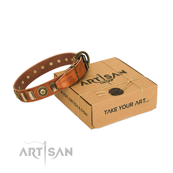 Top notch full grain natural leather dog collar with corrosion proof traditional buckle