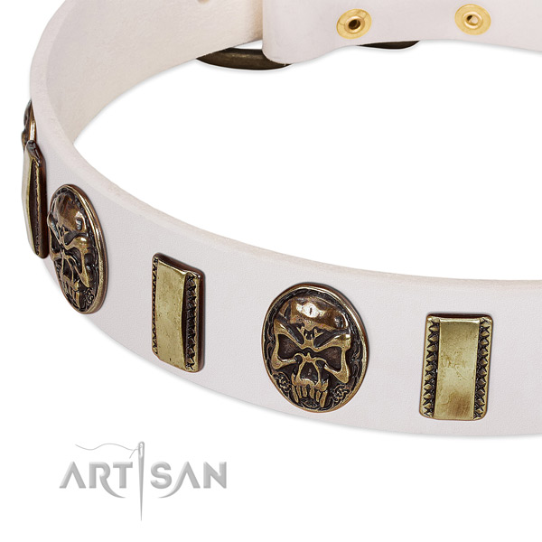 Durable hardware on leather dog collar for your dog