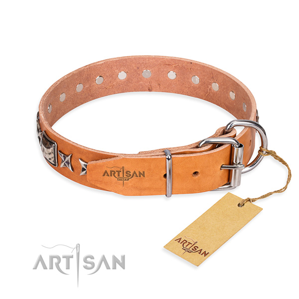 Finest quality adorned dog collar of full grain genuine leather