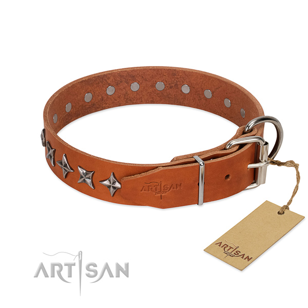 Comfy wearing embellished dog collar of high quality genuine leather